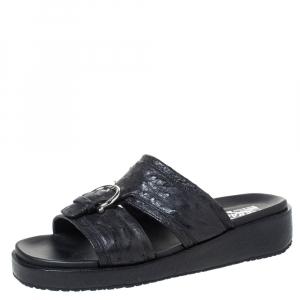 Salvatore Ferragamo Black Ostrich Leather Lutfi Platform Slides Size 40