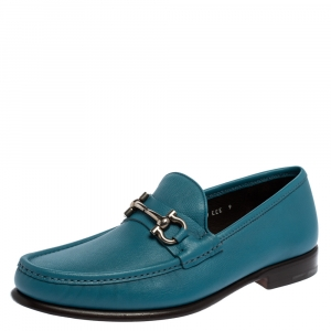 Salvatore Ferragamo Blue Leather Gancini Bit Loafers Size 43