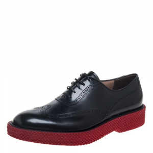 Salvatore Ferragamo Black Brogue Leather Thierry Oxfords Size 44 - used