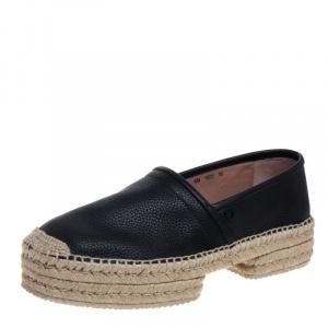 Salvatore Ferragamo Black Leather And Jute Espadrilles Size 44 - used