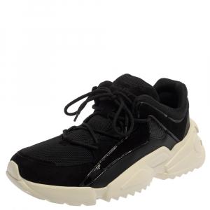 Salvatore Ferragamo Black Suede And Mesh Skylar Sneakers Size 44 - used