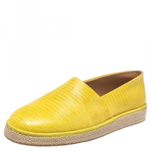 Salvatore Ferragamo Yellow Lizard Leather Lampedusa Slip On Espadrilles Size 44.5 - used