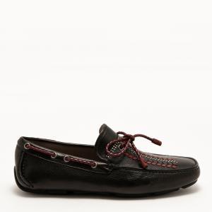 حذاء لوفرز سالفاتوري فيراغامو دريفر جلد أسود مزين دلاية بشراشيب جلد عجل مقاس أوروبي 44