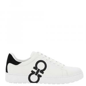 Salvatore Ferragamo White/Black Gancini Sneakers Size EU 44 US 11
