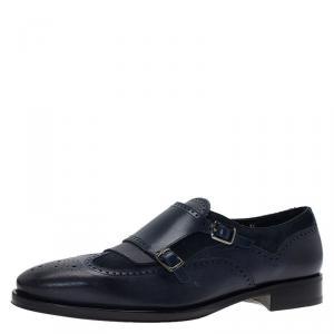 Salvatore Ferragamo Navy Blue Leather Marlin Brogue Fringe Monk Strap Derby Size 44
