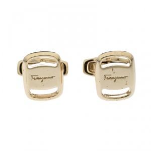 Salvatore Ferragamo Gold Tone Cufflinks