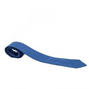 Salvatore Ferragamo Blue Gancini Jacquard Silk Tie