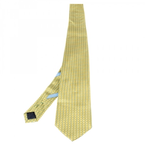 Salvatore Ferragamo Light Green Scale Printed Silk Tie