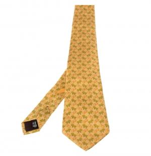 Salvatore Ferragamo Pale Orange Sheep Print Silk Tie