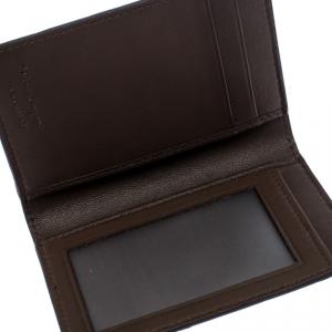 Salvatore Ferragamo Dark Brown Python Bifold Card Holder