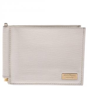 Salvatore Ferragamo Cream Leather Money Clip Wallet