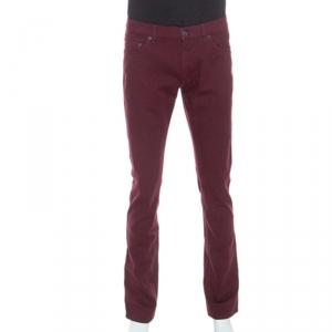 Salvatore Ferragamo Burgundy Washed Denim Straight Fit Jeans M - used