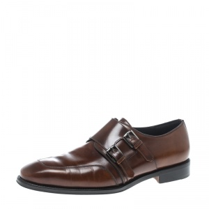 Salvatore Ferragamo Brown Leather Marcelo Double Monk Strap Loafers Size 42