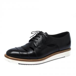 Salvatore Ferragamo Black Cut Out Leather Famoso Lace Up Oxfords Size 41