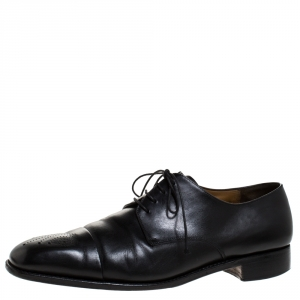 Salvatore Ferragamo Black Leahter Perforated Cap Toe Oxford Derby Size 44.5 - used