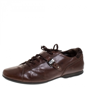 Salvatore Ferragamo Brown Leather Low Top Sneakers Size 45.5 - used