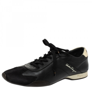 Salvatore Ferragamo Black Leather And Suede Low Top Sneakers Size 42.5 - used