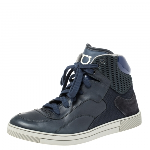 Salvatore Ferragamo Blue Leather and Mesh High Top Sneakers Size 41