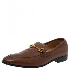 Salvatore Ferragamo Brown Leather Mason Loafers Size 43.5
