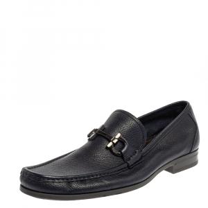 Salvatore Ferragamo Blue Leather Parigi Gancini Driver Loafers Size 43.5