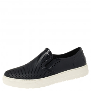 Salvatore Ferragamo Navy Blue Perforated Rubber Slip On Sneakers Size 41