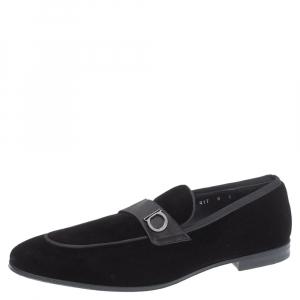 Salvatore Ferragamo Black Velvet Andrea Loafers Size 42