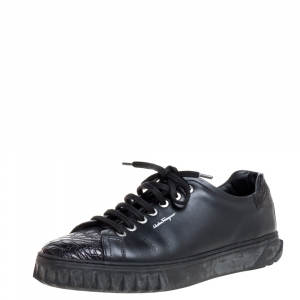 Salvatore Ferragamo Black Leather and Croc Embossed Leather Cube 3 Low Top Sneakers Size 40