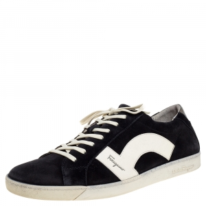 Salvatore Ferragamo Black/White Leather and Suede Low Top Sneakers Size 45 - used