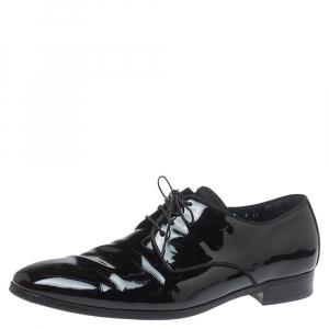 Salvatore Ferragamo Black Patent Leather Dimo Lace Oxford Size 43 - used