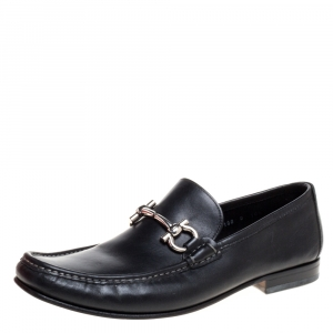 Salvatore Ferragamo Black Leather Gancini Bit Loafers Size 44.5