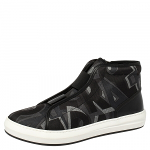 Salvatore Ferragamo Black Printed Canvas And Leather High Top Sneakers Size 44.5