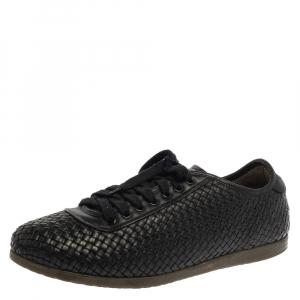 Salvatore Ferragamo Black Woven Leather Low Top Lace Sneaker Size 43.5 - used