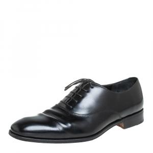 Salvatore Ferragamo Black Leather Lace up Oxfords Size 44.5 - used
