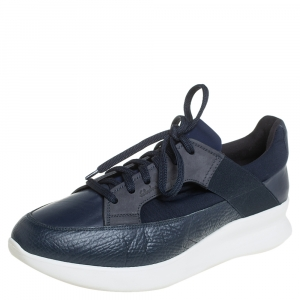 Salvatore Ferragamo Blue Mesh And Leather Duo Sneakers Size 41.5