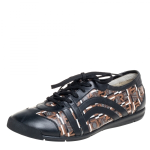 Salvatore Ferragamo Brown/Black Canvas And Leather Low Top Sneakers Size 43.5 - used