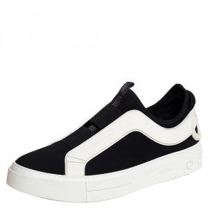 Salvatore Ferragamo Black/White Fabric And Rubber Answer Slip On Sneakers Size 44 - used