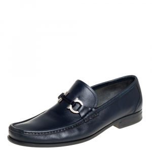 Salvatore Ferragamo Blue Leather Parigi Gancini Loafers Size 42.5