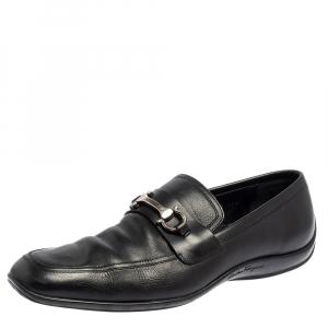 حذاء لوفرز سالفاتوري فيراغامو جلد أسود مقاس 44.5