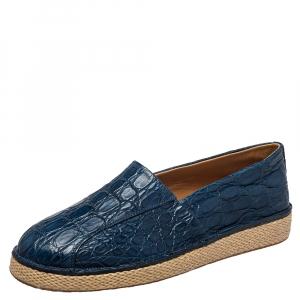 Salvatore Ferragamo Blue Crocodile Leather Lampedusa Espadrilles Size 42.5 - used