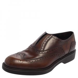 Salvatore Ferragamo Brown Leather Brogue Oxford Size 42