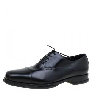 Salvatore Ferragamo Black Leather Russel Cap Toe Oxfords Size 42