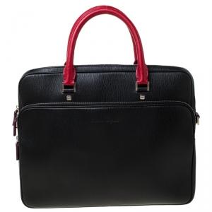 Salvatore Ferragamo Black/Red Leather Laptop Bag