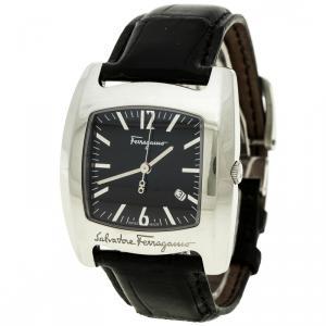 Salvatore Ferragamo Black Stainless Steel Firenze Men's Wristwatch 38 mm