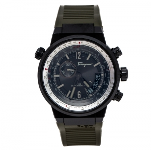 Salvatore Ferragamo Green Black PVD Coated Stainless Steel F-80 Pilot Men's Wristwatch 44 mm