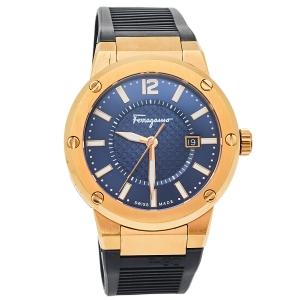 Salvatore Ferragamo Blue Rose Gold Tone Stainless Steel F-80 FIF050015 Men's Wristwatch 44 mm