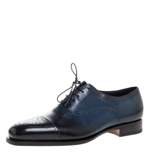 Santoni Blue Leather Wing Tip Oxford Size 44.5