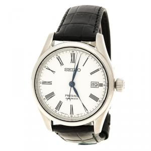 Seiko White Stainless Steel Presage Unlimited Enamel Men's Wristwatch 40 mm