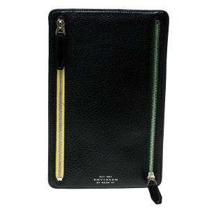 Smythson Black Leather Panama Zip Currency Case