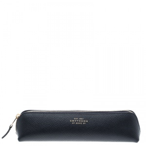 Smythson Dark Blue Leather Panama Pencil Case