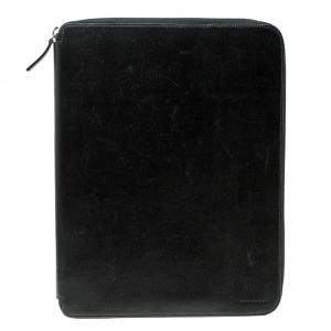 Smythson Black Leather Panama A4 Zip Writing Folder